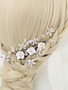 Mujer / Nina de flor Diamantes Sinteticos / Cristal / Aleacion / Perla Artificial Celada-Boda / Ocasion especial Peinetas 1 Pieza Blanco
