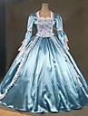 steampunk®18th talet tema klänning blå och vit marie antoinette perioden brudklänning prestanda