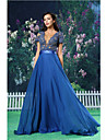 Formal Evening Dress - Royal Blue A-line Jewel Floor-length Chiffon / Lace / Satin