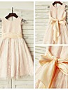 A-line Knee-length Flower Girl Dress - Lace Short Sleeve Scoop with