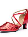 Chaussures de danse(Or Noir Argent Rouge) -Personnalisables-Talon Personnalise-Paillettes-Modernes