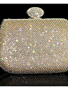 Women Evening Bag Other Leather Type Minaudiere Without Zipper Gold Silver