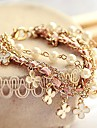 가죽의 매력 braceletsfashion 한국어 스타일의 흰색 진주 클로버 팔찌 가죽 로프 팔찌