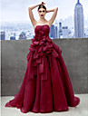 Formal Evening Dress A-line Sweetheart Chapel Train Organza