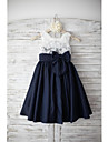 A-line Knee-length Flower Girl Dress - Lace / Taffeta Sleeveless Square with
