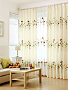 Two Panel Modern Color leaf and Blossom  Embroidered  Cotton Energy Saving Curtains Drapes