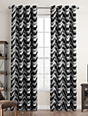 Modern One Panel Stripe Black Bedroom Polyester Blackout Curtains Drapes