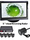 renepai® 5 tum 4 sond parkeringssensorer lcd display kamera video bil vända backup radarsystem kit summalarm 12v