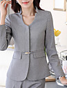 Women\'s Solid Black / Gray Blazer , Work / Plus Sizes V Neck Long Sleeve