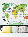 Animals World Map Wall Stickers Art Decals