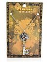 Vintage Steampunk Gear Key Pendant Necklace