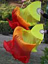 Hot Selling Belly Dance 100% Real Silk Fan Veils Silk Fabric Veils Yellow-Orange-Red 2pcs/L+R