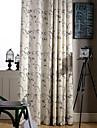 land curtains® två paneler grön vinstockar blommig linne polyesterblandning gardin