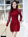 Women\'s Solid / Patchwork / Lace Red / Black Dress , Vintage / Sexy / Lace Crew Neck Long Sleeve