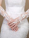 Elbow Length Fingerless Glove Lace Bridal Gloves / Party/ Evening Gloves Spring / Summer / Fall White / Ivory Rhinestone