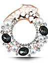 New Fashion Personalized Crystal Pearl Brooch Tiger Hollow Circle