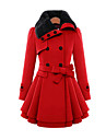 Women\'s Vintage Coat,Solid Shirt Collar Long Sleeve Winter Red / Beige Wool / Cotton / Others Thick