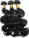 anna brasiliansk mänskliga hårförlängningar 3st jungfru kroppen våg hår vävda 1b svart 100g / st