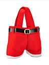 heta försäljning mode Christmas Santa byxor elf anda godispåsar xmas dekoration säck söta barn gåva mjuk trasa röd
