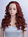 la mode des perruques synthetiques dentelle perruques avant 24inch cheveux resistant a la chaleur bourgogne boucles perruques femmes