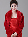 Wedding  Wraps Shrugs Long Sleeve Faux Fur White / Red Wedding Feathers / fur Open Front