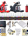 Beginner Tattoo Starter Kits 2 Cast Iron Tattoo Machines 20 Inks Sets Mini Power Supply No Carrying Case 10 Tattoo Needles 1 Practice Skin
