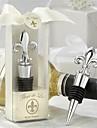 Fleurs-de-lis Design Chrome Wine Bottle Stopper