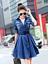 Women\'s Solid BlueDenim /  Cotton Dress , Vintage / Casual