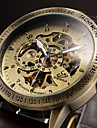 Bărbați Ceas de Mână ceas mecanic Mecanism automat Gravură scobită Piele Bandă Luxos Negru Maro