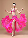 Belly Dance Outfits Women\'s Performance Polyester Ruffles / Sash/Ribbon 3 Pieces Fuchsia / Red / White / Lake Blue