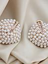 Cercei Stud Cătușe pentru urechi bijuterii de lux Perle Cristal Imitație de Perle Placat Auriu imitație de diamant Geometric Shape Alb