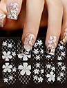 1PCS White Lace With Diamond Nail Stickers