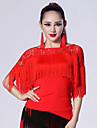 Imported Nylon Viscose with Tassel Latin Dance Tops for Women\'s Performance (More Colors)