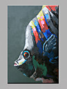 Peint a la main Animal Verticale,Moderne Un Panneau Toile Peinture a l\'huile Hang-peint For Decoration d\'interieur