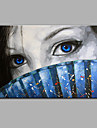 enda modern abstrakt ren handen dra redo att hänga dekorativa beslöjad kvinna oljemålning