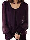 Women\'s Plus Size Solid Black/Purple T-shirt,Casual Round Collar Long Lantern Sleeve