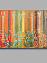 färgglad gitarr handgjorda oljemålning sträckt målning