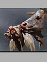 enda modern abstrakt ren handen dra redo att hänga dekorativa grisen oljemålning