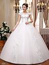 Rochie de balet v-gât podea lungime dantelă satin rochie de mireasa cu rochie de cristal