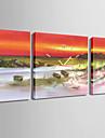 Carre Moderne/Contemporain Horloge murale , Autres Toile 30 x 60cm(20inchx20inch)x2pcs+ 60 x 60cm(24inchx24inch)x1pcs