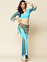 Belly Dance Outfits Women\'s Performance Spandex / Milk Fiber Draped 3 Pieces Black / Blue / Fuchsia Belly Dance