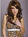 vacker stil och hög kvalitet brunt syntetiskt hår våg peruker förlängningar