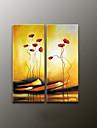 Peint a la main A fleurs/BotaniqueModern Deux Panneaux Toile Peinture a l\'huile Hang-peint For Decoration d\'interieur