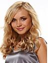 Capless syntetiska blandade blond färg långa raka vågiga syntetiska peruker