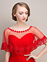 Shawls Shawls Sleeveless Lace / Tulle Red Wedding / Party/Evening Scoop Lace / Tassels
