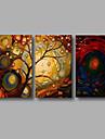 Peint a la main Paysage / Paysages AbstraitsModern Trois Panneaux Toile Peinture a l\'huile Hang-peint For Decoration d\'interieur