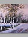 redo att hänga sträckte handmålade oljemålning duk vägg konst vårtbjörk skogsträd snö modern panel