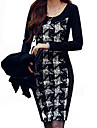 Women\'s Work Sheath Dress,Plaid Round Neck Mini Long Sleeve Polyester / Spandex Spring / Fall / Winter