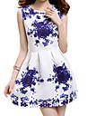 Women\'s Round Neck Sleeveless Floral Print Mini Dress