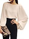 여성의 솔리드 라운드 넥 긴 소매 블라우스,심플 신사화 화이트 폴리에스테르 여름 얇음
